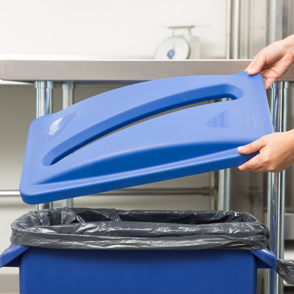 Rubbermaid FG270388BLUE Slim Jim Blue Recycling Container Lid with Slot