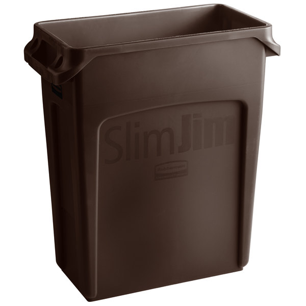 Pack of 4 16 Gallon Rubbermaid Commercial Products 1956181 Slim Jim Trash//Garbage Can with Venting Channels Brown