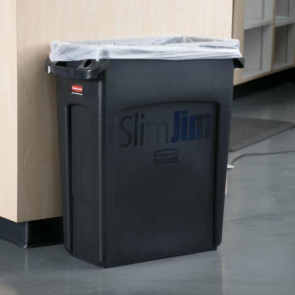 rubbermaid 1955959 slim jim 16 gallon black trash can - Rubbermaid Trash Cans