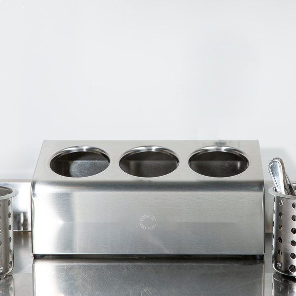 Steril-Sil LTC-3S Three Hole Stainless Steel Flatware Cylinder Holder In-Line