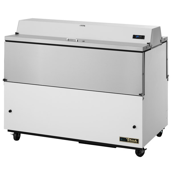 True TMC-58-DS-HC 58 inch Two Sided Milk Cooler with White / Stainless Steel Exterior and Aluminum Interior