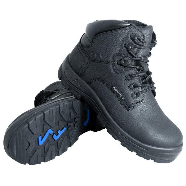 Genuine Grip 6060 Poseidon Men's Size 9.5 Medium Width Black Waterproof Soft Toe Non Slip Full Grain Leather Boot