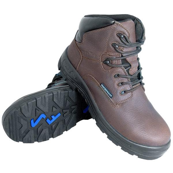 Genuine Grip 6051 Poseidon Men's Size 6 Medium Width Brown Waterproof Composite Toe Non Slip Full Grain Leather Boot