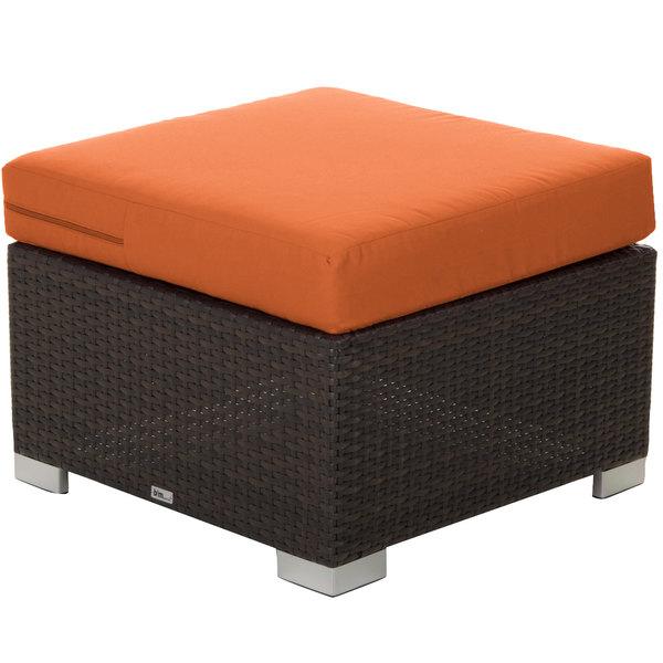 BFM Seating PH5106JV-54010 Aruba Java Wicker Ottoman with Rust Canvas Cushion Main Image 1