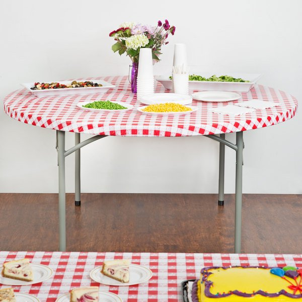 Creative Converting 37288 Stay Put 60 Round Red Gingham Plastic Table Cover