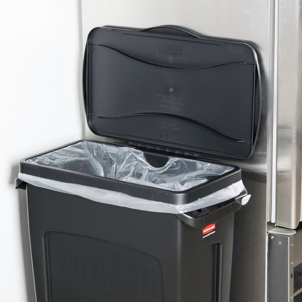 rubbermaid fg267400bla slim jim black hinged trash can lid. Black Bedroom Furniture Sets. Home Design Ideas