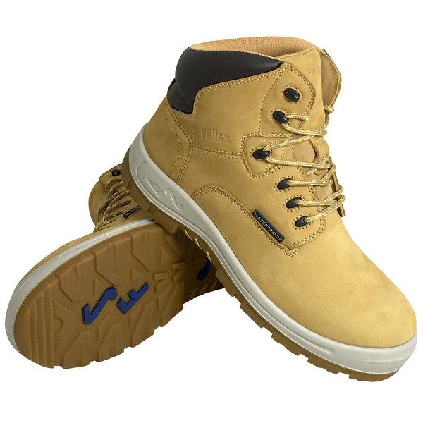Genuine Grip 6052 Poseidon Men's Size 7 Medium Width Wheat Waterproof Composite Toe Non Slip Full Grain Leather Boot