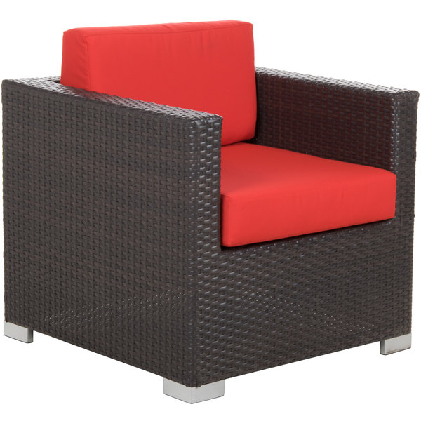 BFM Seating PH5102JV-5477 Aruba Java Wicker Outdoor / Armchair with Logo Red Cushions