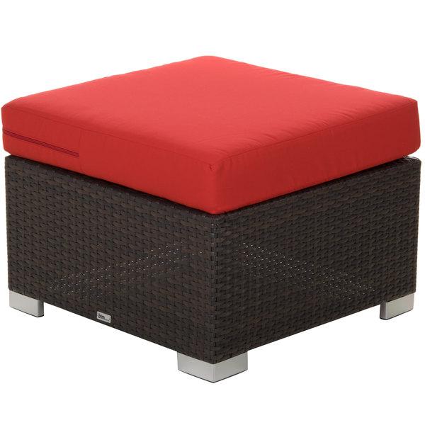 BFM Seating PH5106JV-5477 Aruba Java Wicker Ottoman with Logo Red Cushion