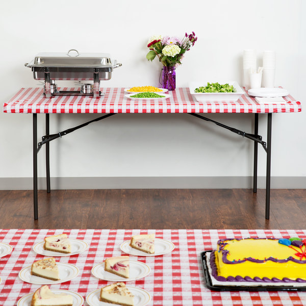 """Creative Converting 37488 Stay Put Red Gingham 29"""" x 72"""" Rectangular Plastic Tablecloth with Elastic"""