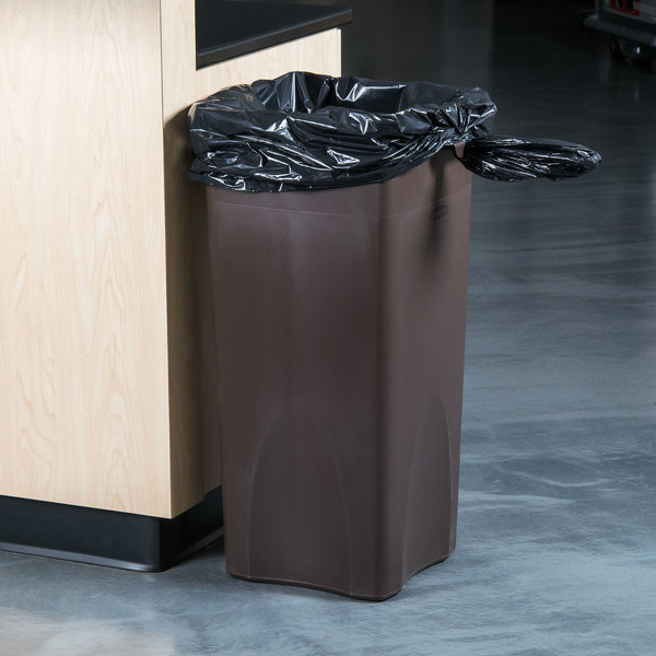 Rubbermaid FG356988BRN Untouchable Brown 23 Gallon Square Trash Can