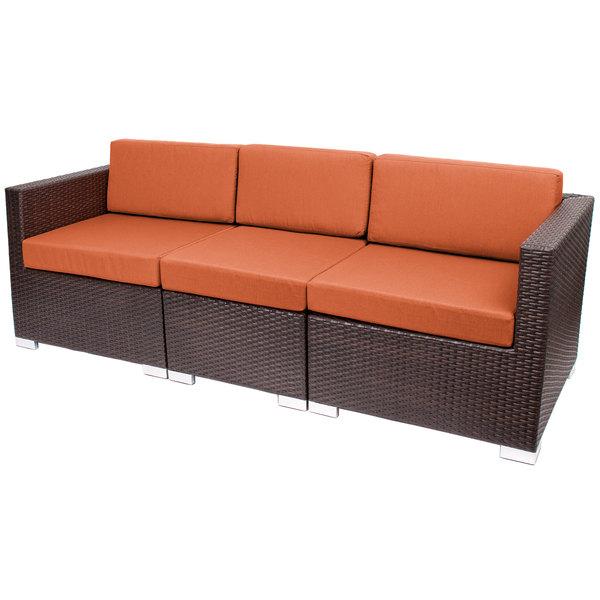 BFM Seating PH5101JV-54010 Aruba Java Wicker Outdoor / Indoor Sofa with Rust Canvas Cushions Main Image 1