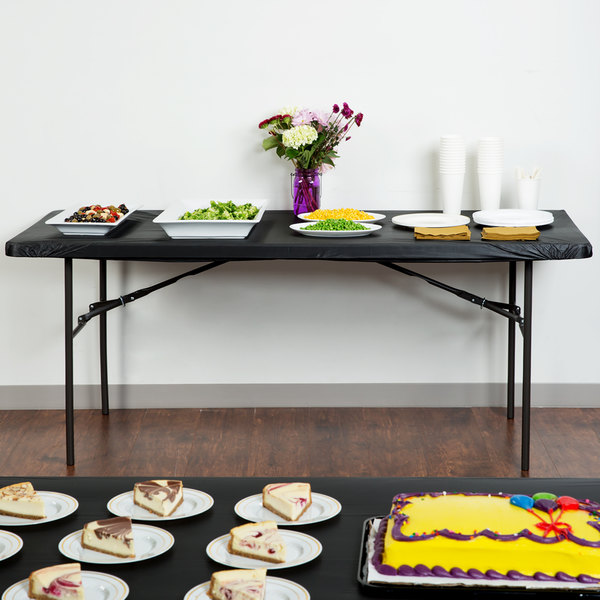 """Creative Converting 701000 Stay Put 29"""" x 72"""" Black Plastic Table Cover"""