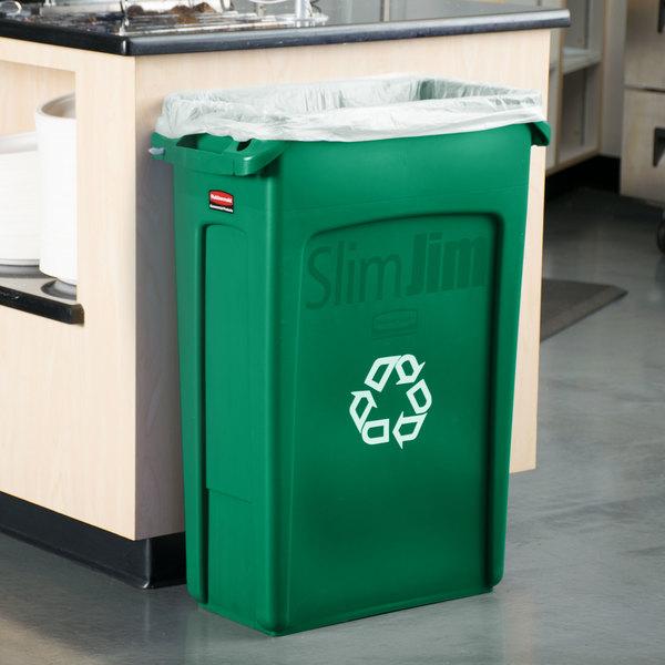 Rubbermaid FG354007GRN Slim Jim 23 Gallon Green Rectangular Recycling Bin Main Image 2
