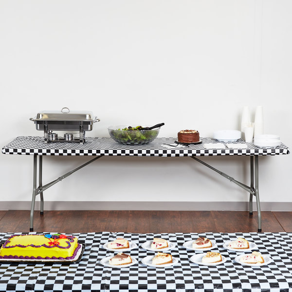 """Creative Converting 37397 Stay Put 30"""" x 96"""" Black Check Plastic Table Cover"""