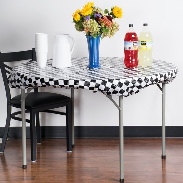 """Creative Converting 37297 Stay Put 60"""" Round Black Check Plastic Table Cover"""