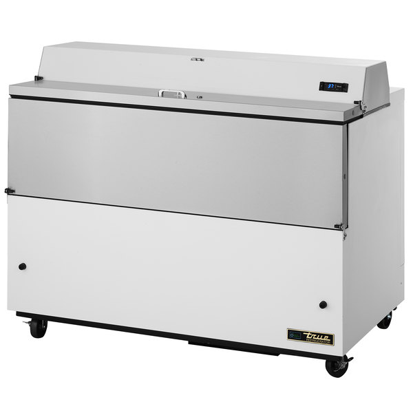 """True TMC-49-HC 49"""" One Sided Milk Cooler with White / Stainless Steel Exterior and Aluminum Interior"""
