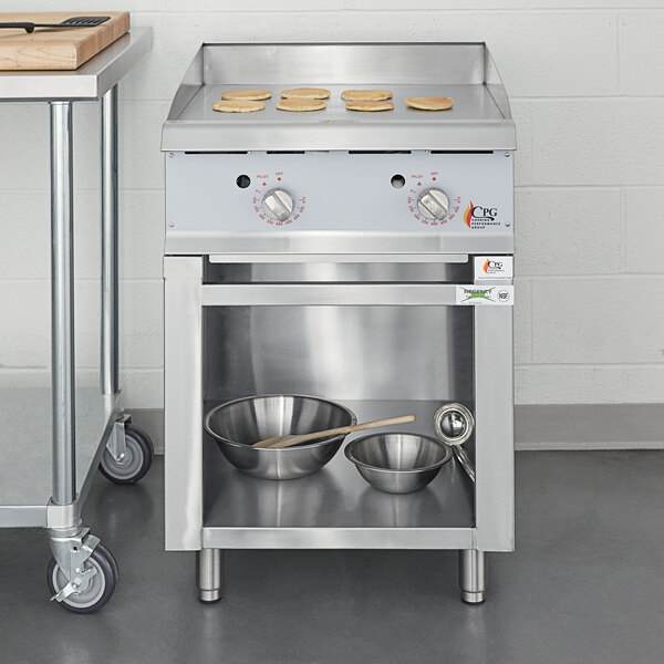 """Cooking Performance Group 24GTSBNL Natural Gas 24"""" 2 Burner Griddle with Flame Failure Protection, Thermostatic Controls, and Storage Base - 60,000 BTU Main Image 5"""