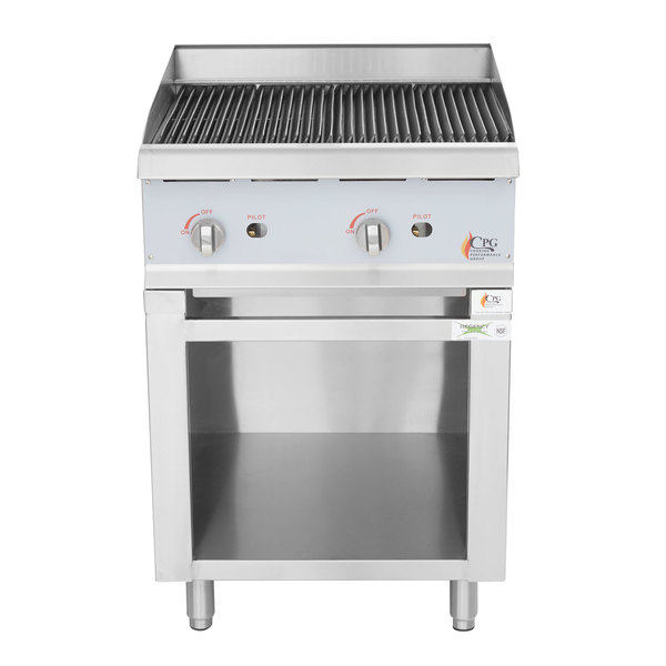 Cooking Performance Group 24-CPG-CBLR Natural Gas 24 inch Lava Rock Charbroiler with Storage Base - 80,000 BTU