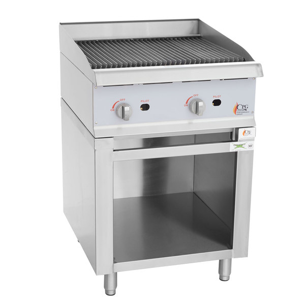 Cooking Performance Group 24CBLSBNL Natural Gas 24 inch Lava Briquette Charbroiler with Storage Base - 80,000 BTU