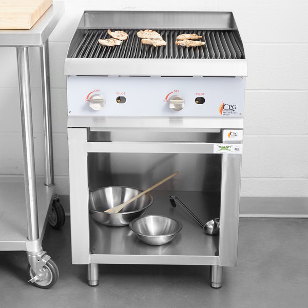 """Cooking Performance Group 24CBLSBNL Natural Gas 24"""" Lava Briquette Charbroiler with Storage Base - 80,000 BTU Main Image 4"""