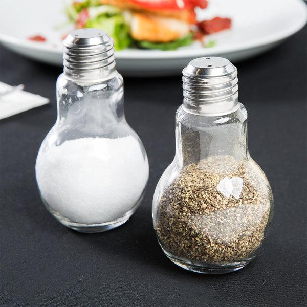 Fabulous American Metalcraft SPLB7 4 oz. Glass Lightbulb Salt and Pepper  QR77