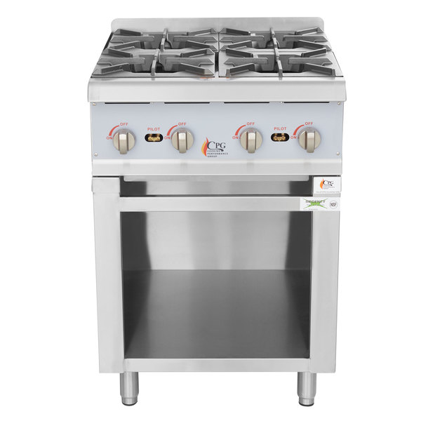 Cooking Performance Group 24RSBNL Natural Gas 24 inch 4 Burner Hot Plate with Storage Base - 88,000 BTU