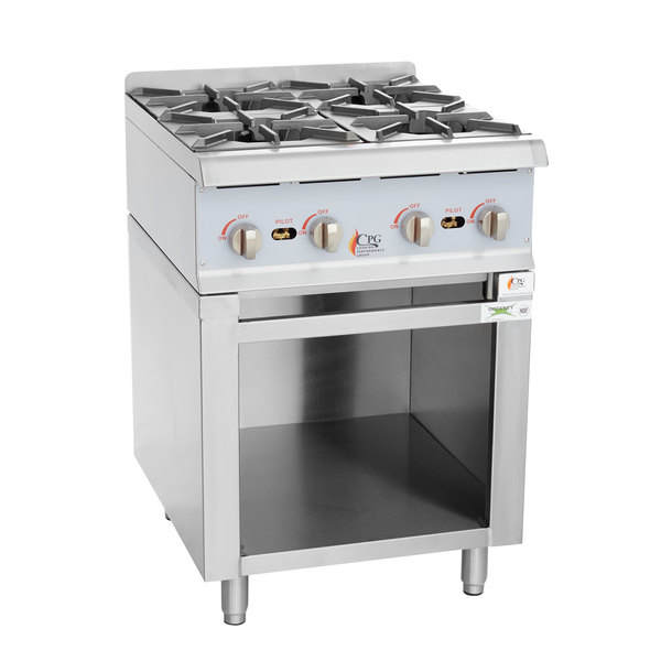 Cooking Performance Group 24RSBNL Natural Gas 24 inch 4 Burner Range / Hot Plate with Storage Base - 88,000 BTU