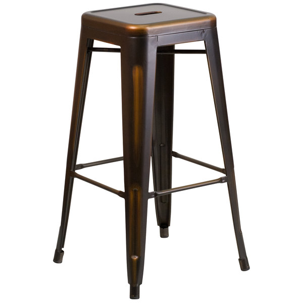 Flash Furniture ET-BT3503-30-COP-GG Distressed Copper Stackable Metal Bar Height Stool with Drain Hole Seat
