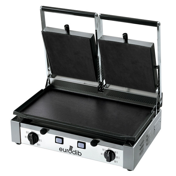 """Eurodib PDF3000 Double Panini Grill with Smooth Plates - 20"""" x 10"""" Cooking Surface - 220V, 3000W"""