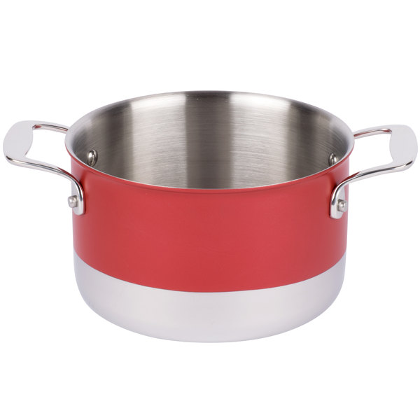 Tablecraft CW7004R 3 Qt. Red Tri-Ply Sauce Pan with Lid