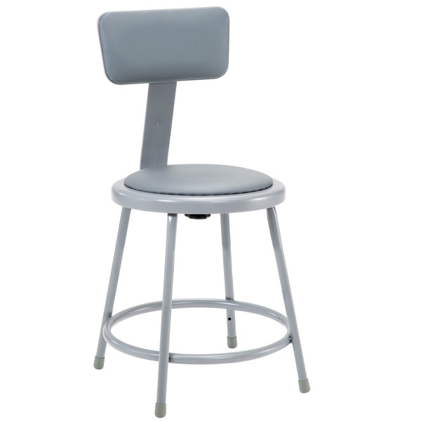 """National Public Seating 6418B 18"""" Gray Round Padded Lab Stool with Adjustable Padded Backrest"""