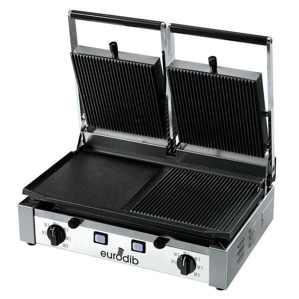 "Eurodib PDM3000 Double Panini Grill with Grooved Top and Smooth Left Bottom - 20"" x 10"" Cooking Surface - 220V, 3000W"