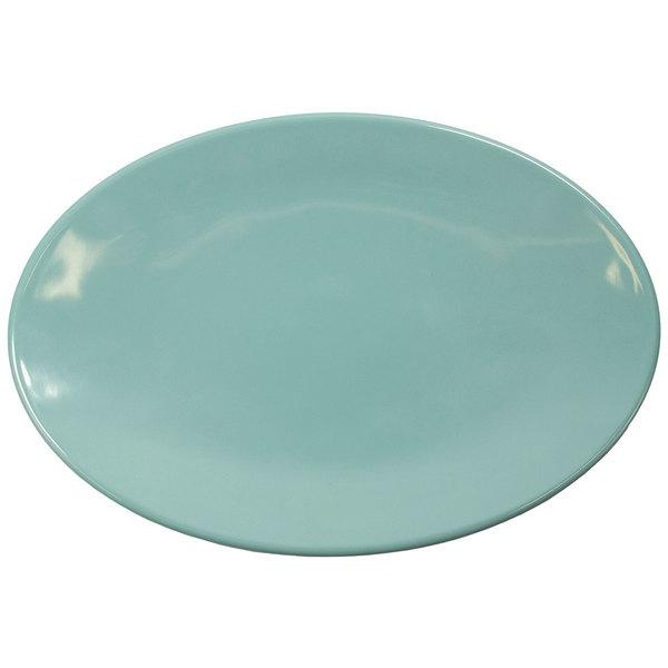 "Elite Global Solutions D8512OVC-CB Cottage Vintage California 12 1/2"" x 8 1/2"" Cameo Blue Oval Melamine Plate - 6/Case"