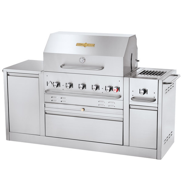 "Crown Verity CV-MBI-80-LP Liquid Propane 79 3/8"" Island Grill - 79,500 BTU"