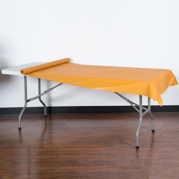 Creative Converting 323377 Pumpkin Spice Orange Disposable Plastic Tablecover