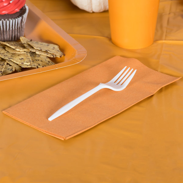 Pumpkin Spice Orange Paper Dinner Napkin, 2-Ply 1/8 Fold - Creative Converting 323401 - 600/Case