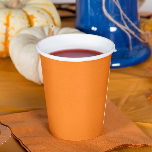 Creative Converting 323394 9 oz. Pumpkin Spice Orange Poly Paper Hot / Cold Cup - 240/Case Main Image 2