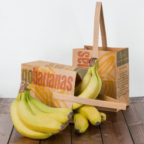 "1/2 Peck ""Go Bananas - Sophomore"" Natural Brown Kraft Paper Produce Market Stand Bag with Handle - 500/Case Main Image 4"
