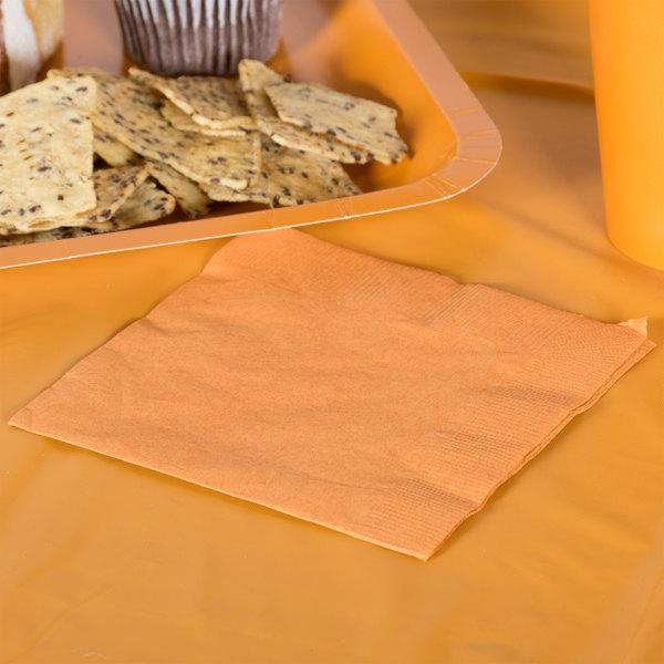 Creative Converting 323381 Pumpkin Spice Orange 2-Ply Beverage Napkin - 600/Case Main Image 2