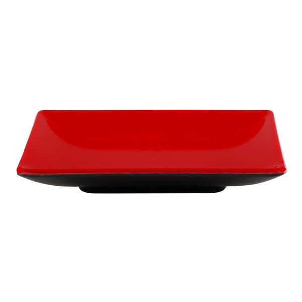 """Elite Global Solutions JW552T 5"""" Karma Black and Red Square Two-Tone Melamine Plate - 6/Case Main Image 1"""
