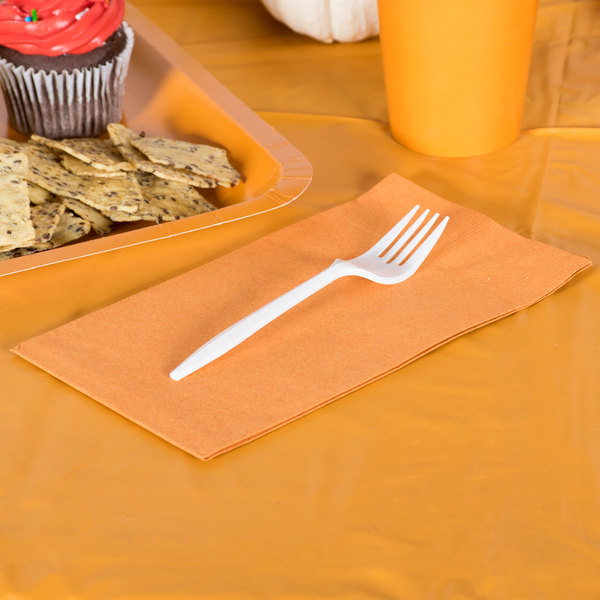 Pumpkin Spice Orange Guest Towel / Buffet Napkin, 3-Ply - Creative Converting 323403 - 192/Case Main Image 2