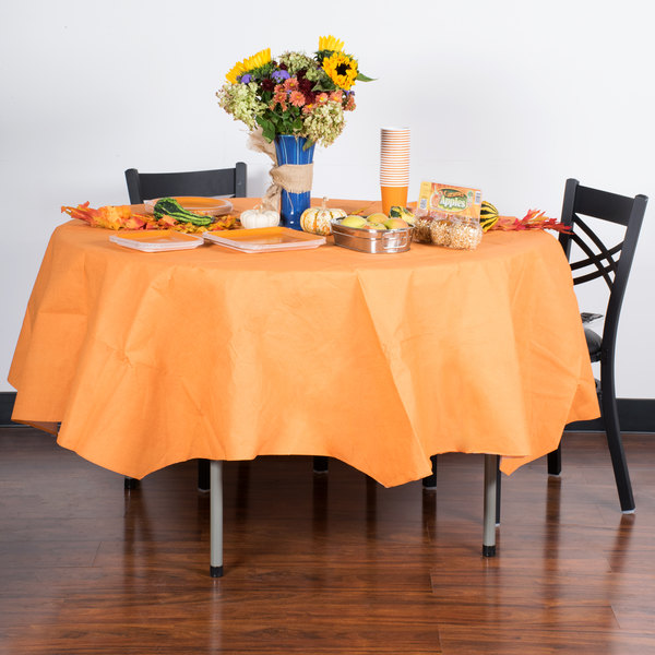 """Creative Converting 323402 82"""" Pumpkin Spice Orange OctyRound Tissue / Poly Table Cover - 12/Case Main Image 3"""