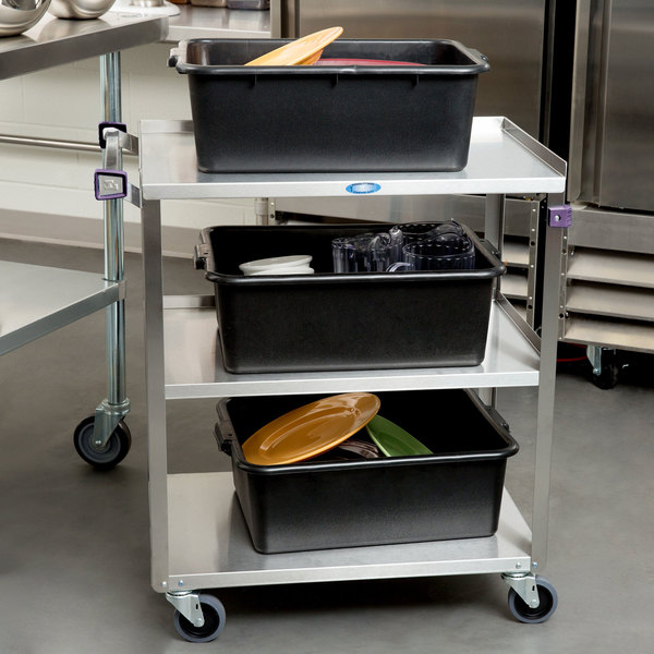 """Lakeside 311A Standard-Duty Stainless Steel 3 Shelf Utility Cart with Purple Handle and Leg Bumpers - 16 1/4"""" x 27 1/2"""" x 32 1/8"""""""