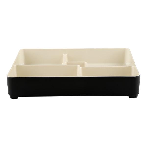 "Elite Global Solutions JW11852T Karma 10 3/4"" x 8 3/8"" Ebony and Sand Two-Tone Melamine Bento Box Main Image 1"