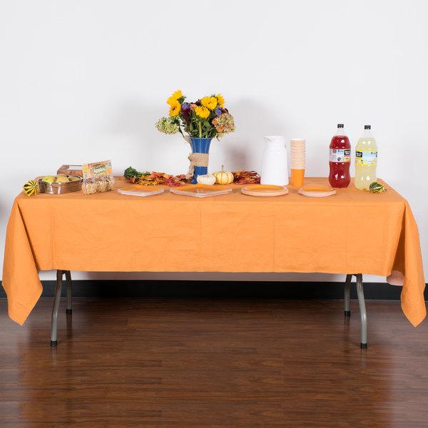 "Creative Converting 323378 54"" x 108"" Pumpkin Spice Orange Tissue / Poly Table Cover - 6/Case Main Image 4"