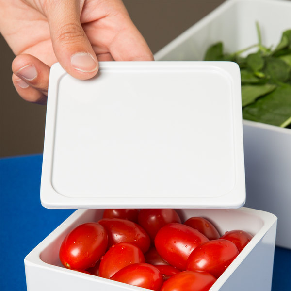 "Elite Global Solutions M45LID Modern European Food Pans 4 1/2"" x 4 1/2"" White Square Lid - 24/Case"