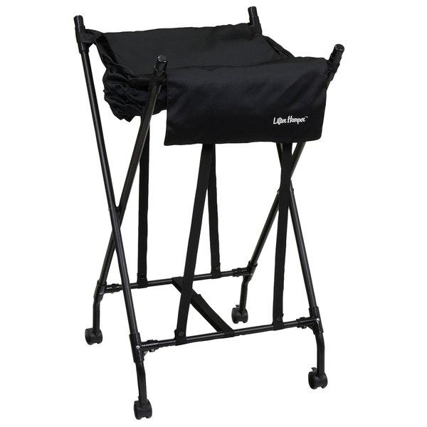 Black Mobile Spring Loaded Laundry Lifter Hamper 174
