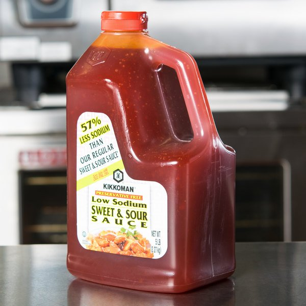 Kikkoman 5 Lb Less Sodium Preservative Free Sweet And Sour Sauce 6 Case