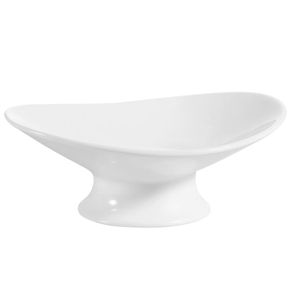 CAC OPST-11 Bone White Oval Porcelain Plate with Foot - 6/Case